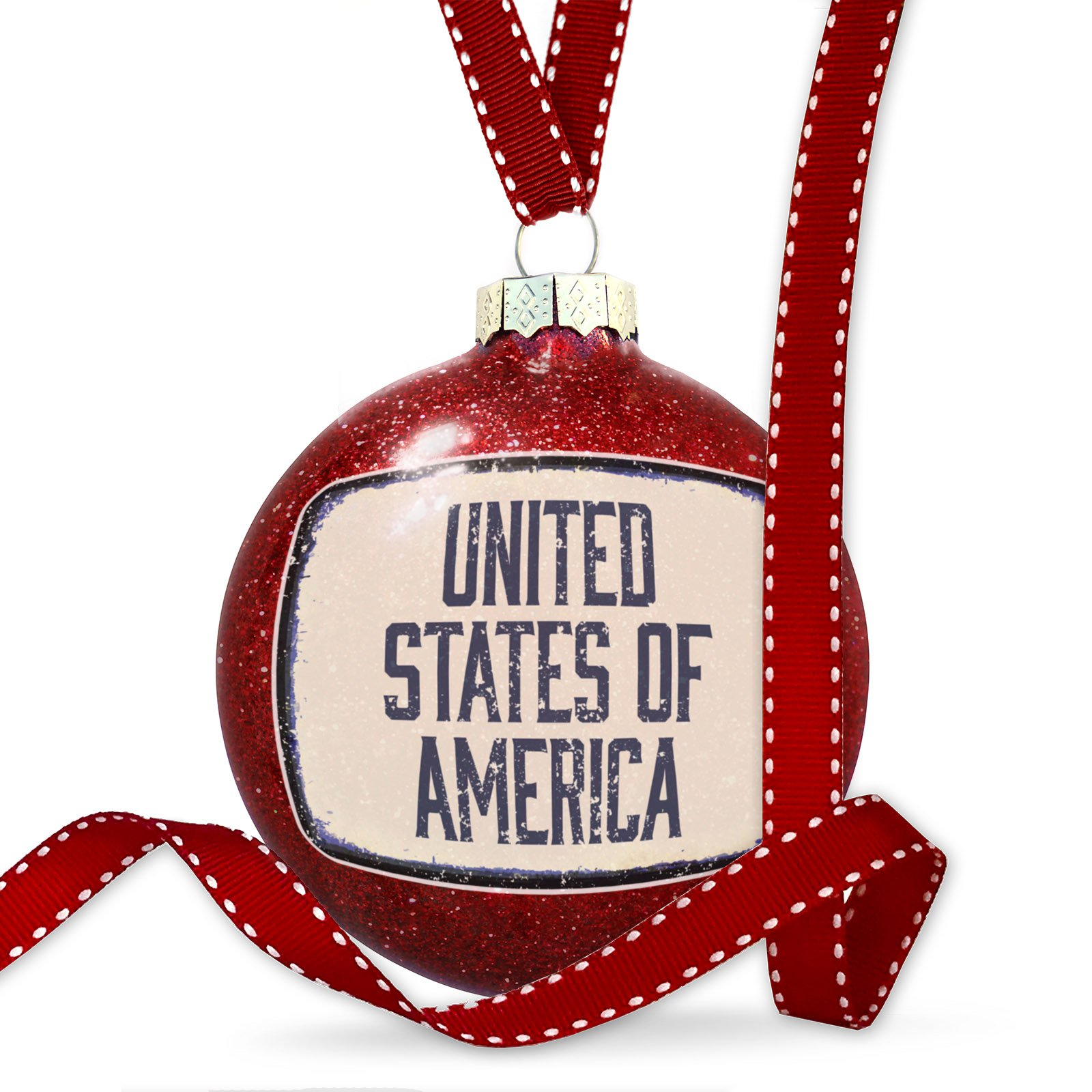 Christmas Decoration United States of America Fourth of July Aging Vintage Blue Ornament