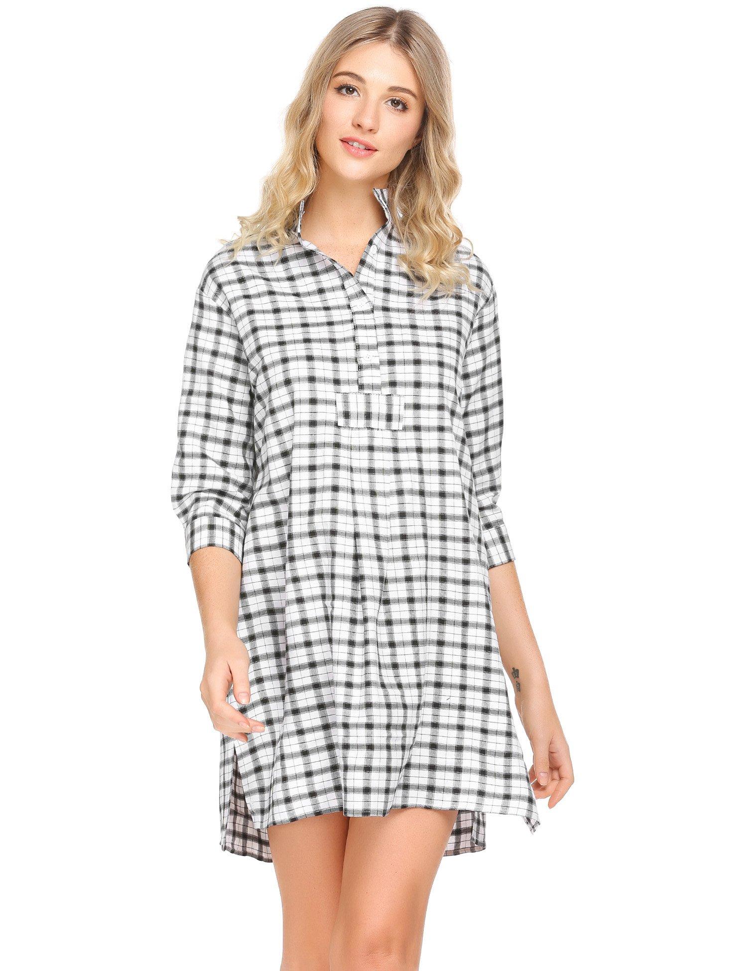 Ekouaer Womens Classic Plaid Nightgown Soft Boyfriend Nightshirt Button Down Sleepshirt
