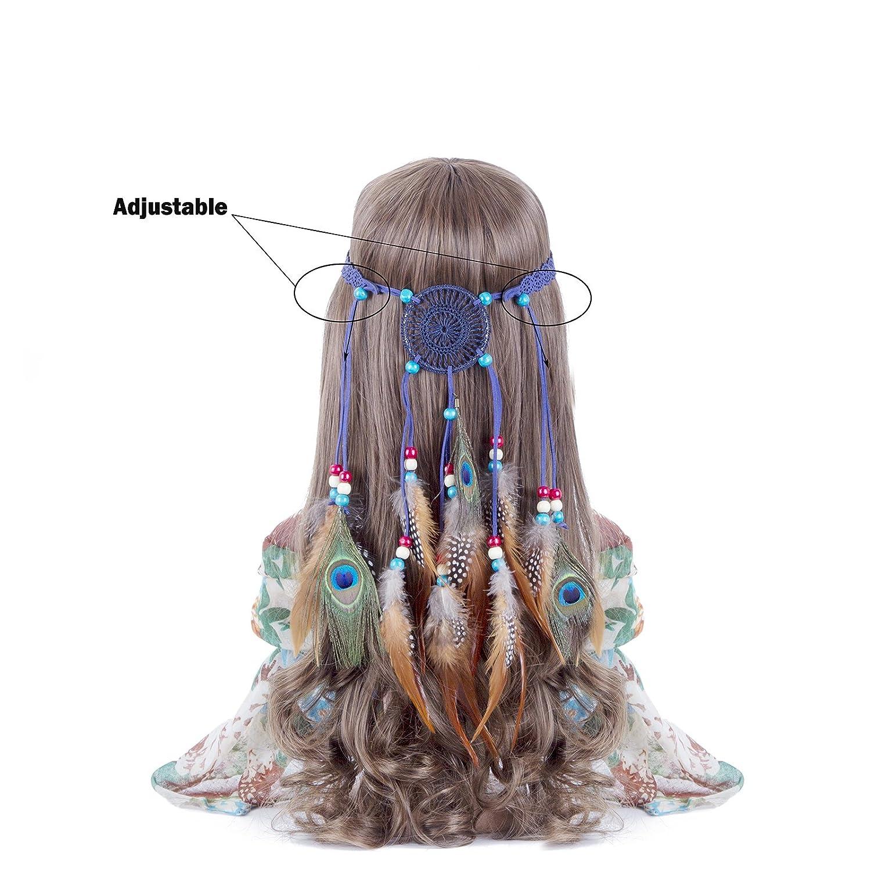 Amazon.com   Hippie Headband Feather Dreamcatcher Headdress - AWAYTR New  Fashion Boho Headwear Native American Headpiece Hippie Clothes Peacock  Feather Hair ... 7afe49b73c4