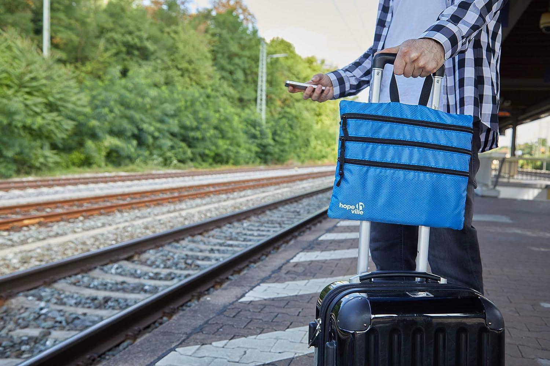 Freizeit und Ausflug Premium Taschenorganizer f/ür Reise Tablet und Reiseutensilien HOPEVILLE Rei/ßverschlusstasche 4 in 1 Reise Organizer mit 4 gro/ßen F/ächern f/ür Reiseunterlagen Schwarz