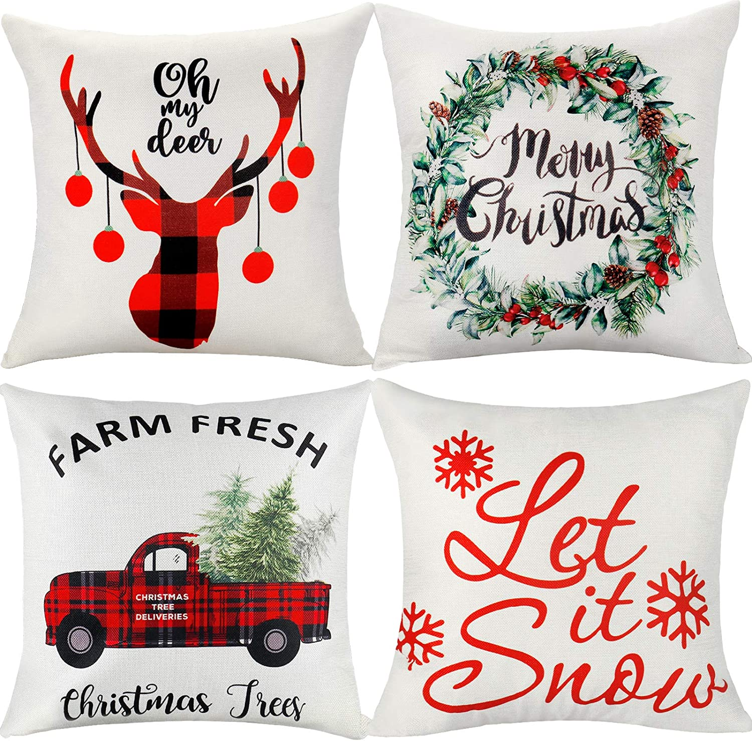 ifremaix Christmas Decorative Pillow Cover Perfect Farmhouse Style (Beige 4-Piece) Made of Polyester Linen 18 x 18 inches, 45 x 45 cm Home Decorative Black Check Christmas Element Pillowcase