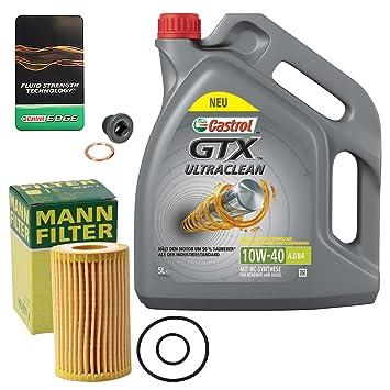 1 x Set de aceite - Muñeco de filtro de aceite + 5 l Castrol Gtx Ultra Clean 10 W-40 A3/B4: Amazon.es: Coche y moto