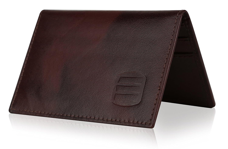 Suvelle Mens Thin RFID Blocking Slim Leather Card Holder Minimalist Wallet WR100 WR100BK