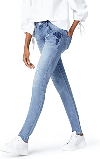 Amazon Brand find. Women's Slim Fit Mid Rise Stretch Ripped Embroidered Jeans