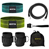 BERTER Resistance Bands Set, Booty Workout Exercise Hip Bands, Ankle Strap for Cable Machines, Leg and Butt Training, Glute W