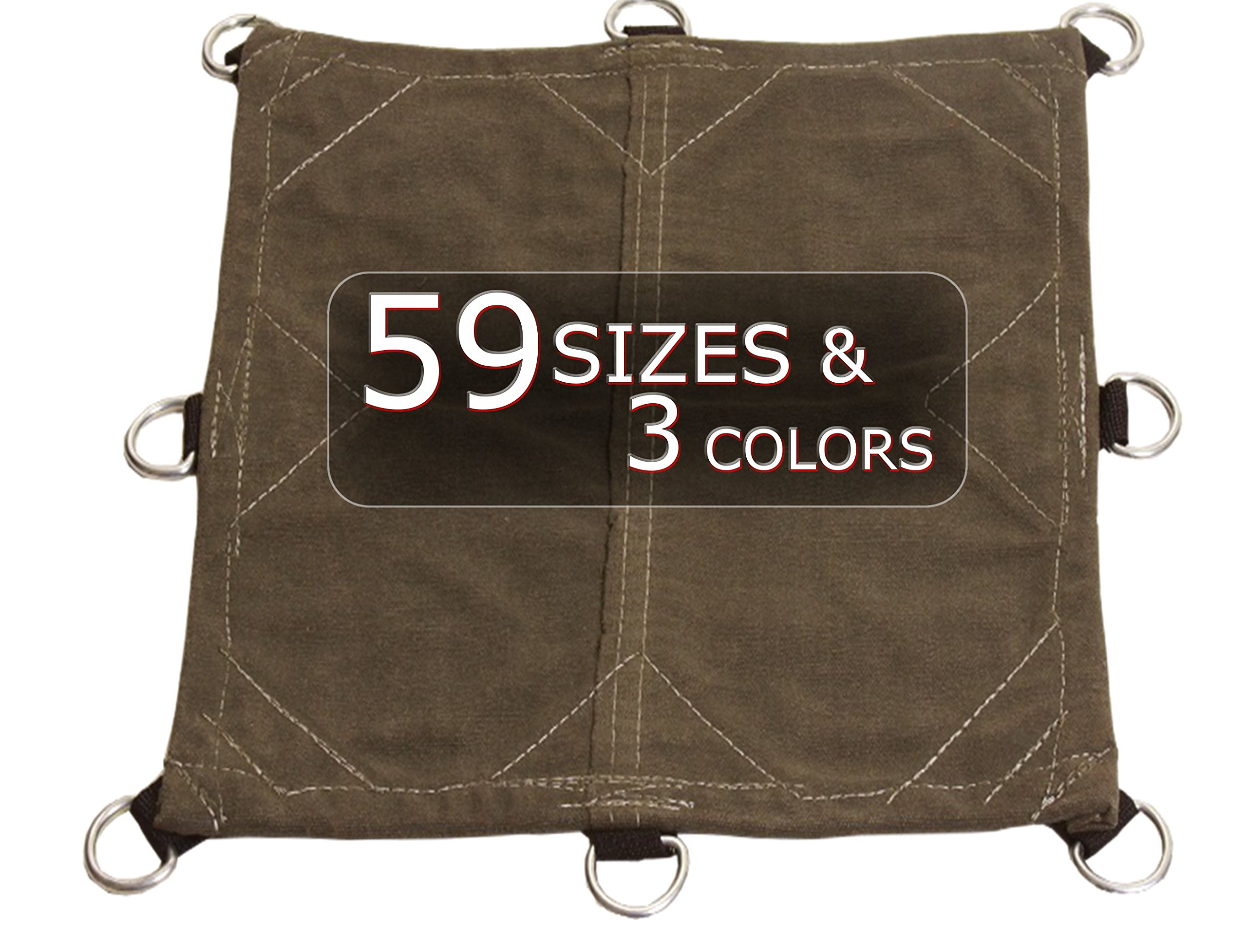 20x40 12oz Heavy Duty Canvas Tarp with D-Rings - Extreme Performance, Equipment, Farm, Home, Woodpile, Construction, Machinery Cover - Choose Size and D-Ring Spacing in drop-down below.