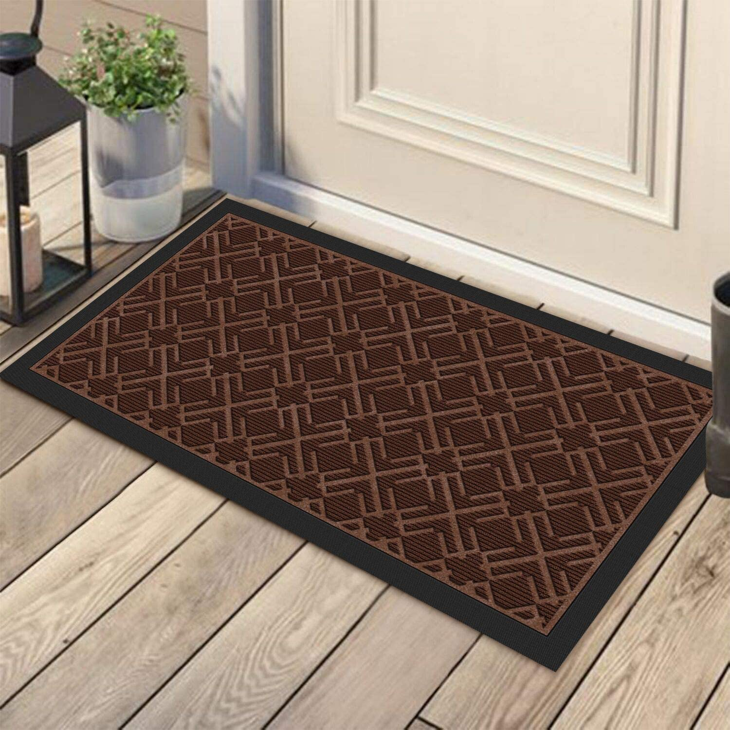 KMAT Door Mat Inside Outside,Anti-Slip Durable Rubber Doormat Indoor Outdoor Front Door Mat Rugs for Entryway,Patio,Lawn,Garage,High Traffic Areas(Low-Profile Design,30x17 inches,Brown)