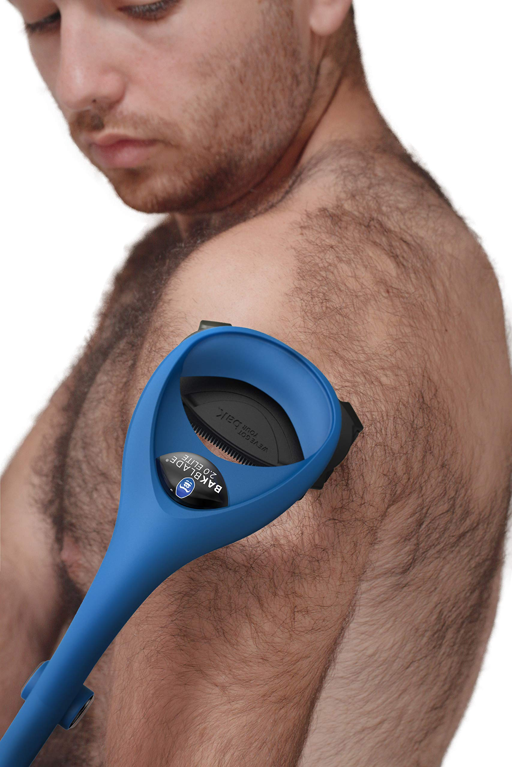 BAKblade 2.0/ELITE PLUS - Back Hair Removal and Body Shaver (DIY), Easy to Use Ergonomic Handle for a Close, Pain-Free Shave, 3 of the Wet or Dry Disposable Razor Blades, Scrubbing Sleeve Included