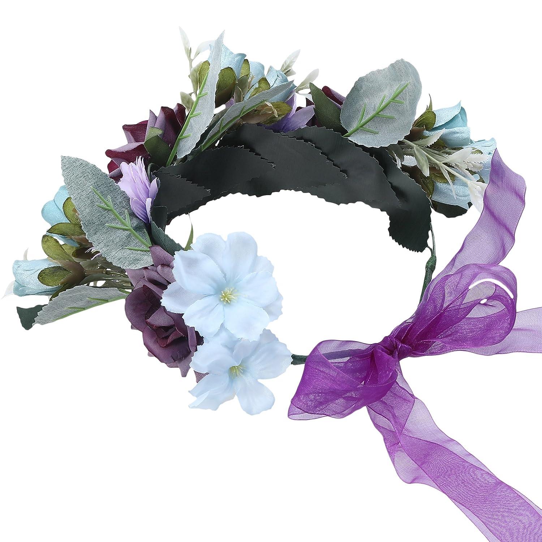 Awaytr women girls boho flower wreath headband floral crown garland izmirmasajfo