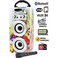 DYNASONIC Altavoz Bluetooth con modo Karaoke 10W, Reproductor mp3 inalámbrico Portátil, Lector USB SD, Radio FM - Modelo 1
