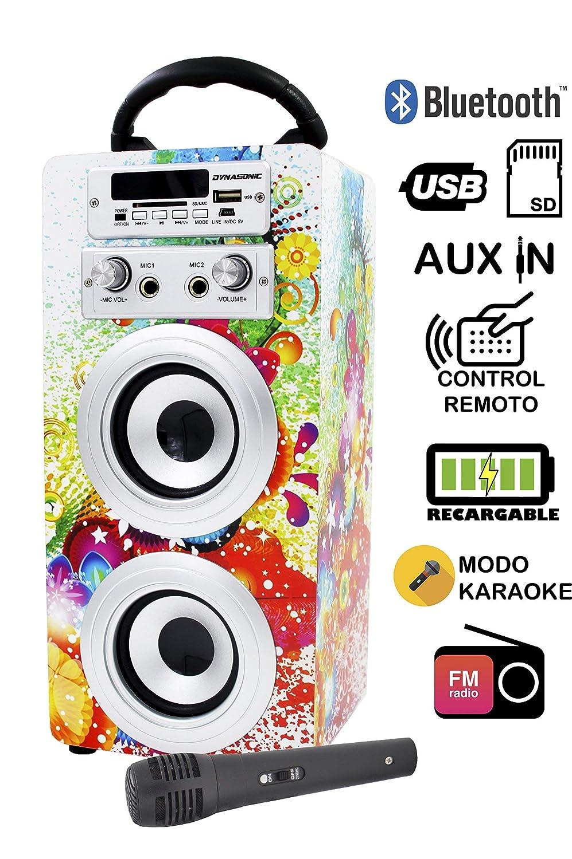 Karaoke Anlage Bluetooth - Kinder Karaoke Player - Mikrofon mit Lautsprecher Boxen Bluetooth Akku-Lautsprecherbox (USB-SD-Slot, Aux, UKW-Radio, Fernbedienung) Modell-025-blanco … ELECITI 025-WHITE