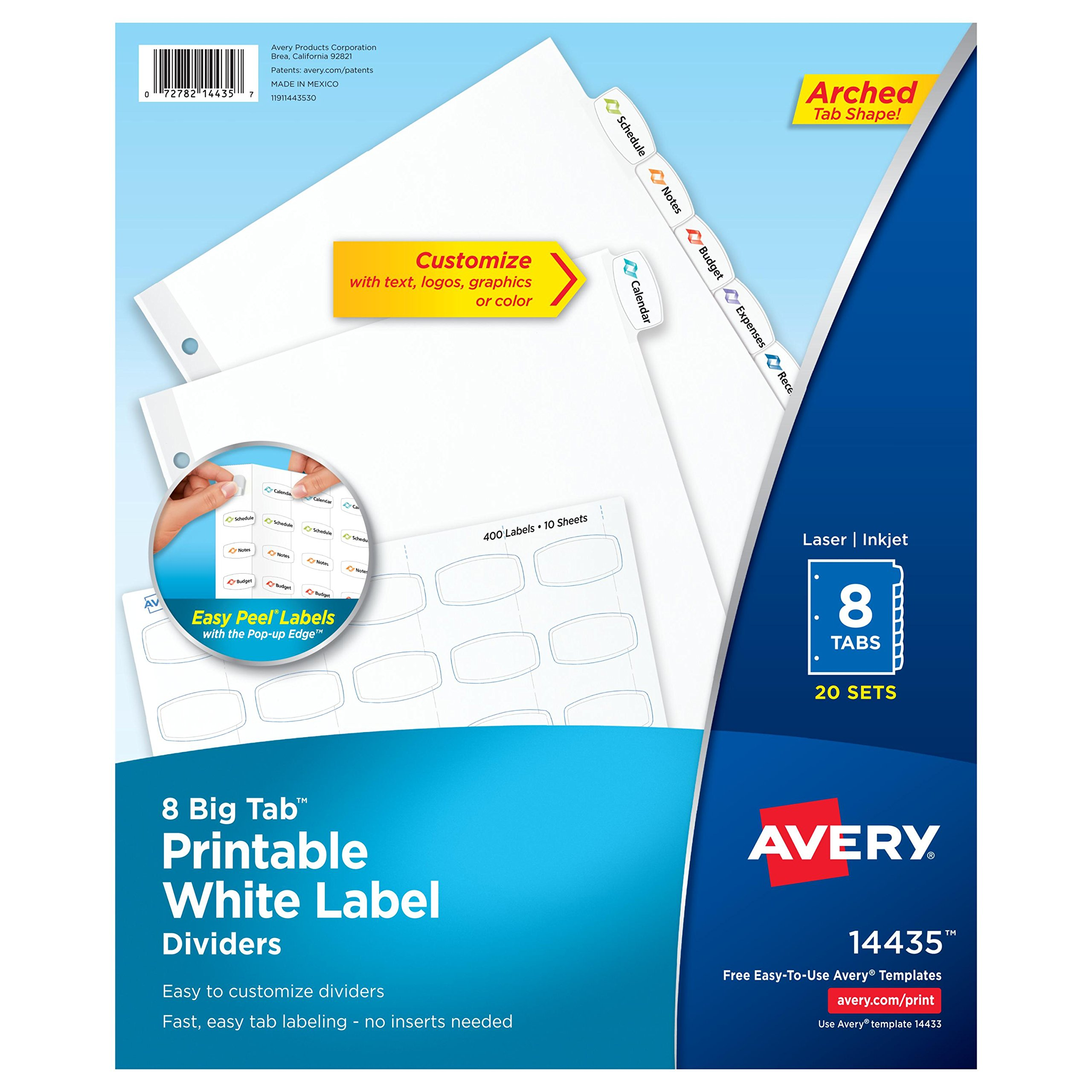 Avery Big Tab Printable White Label Dividers with Easy Peel, 8 Tabs, 20 Sets (14435)