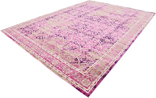 Unique Loom Cambridge Collection Traditional Textured Pattern Vintage Pink Area Rug 10 2 x 13 5