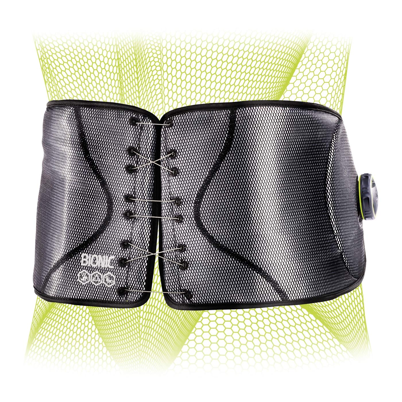 DonJoy® Performance BionicTM Reel-Adjust Boa® Fit System Back Brace - Low-Profile, Adjustable Low-Back Support with Removable Rigid Panels for Low Back Pain, Strains and Lumbar Support