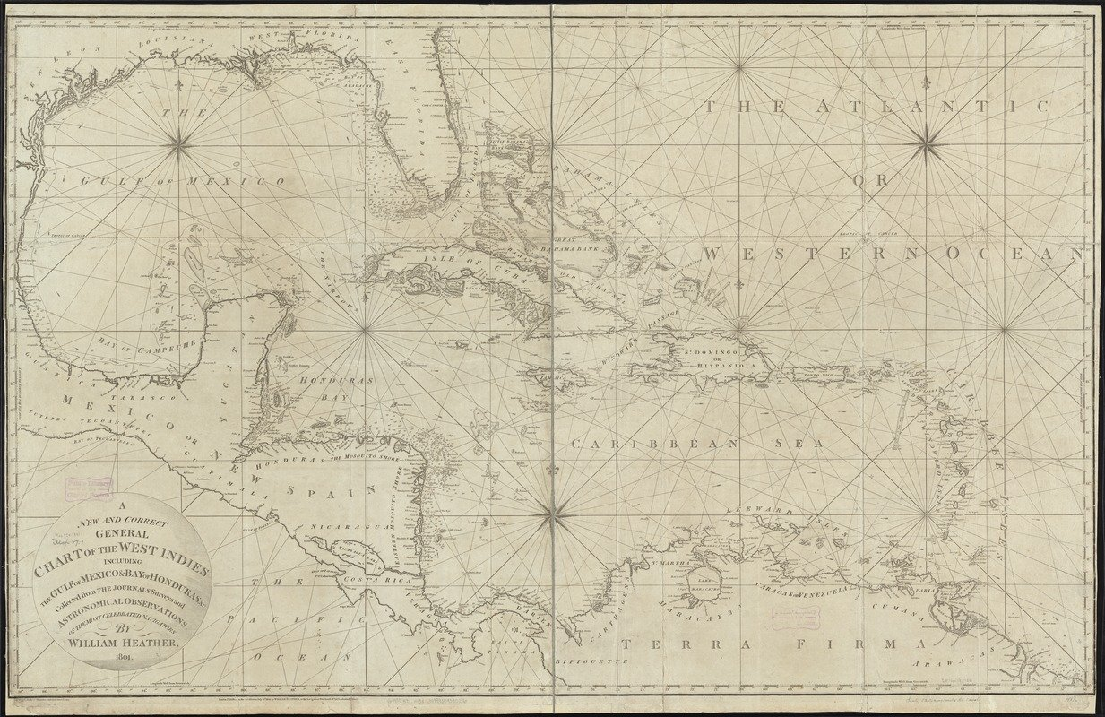 Historic Map   1801 A new and correct general chart of the West Indies including the Gulf of Mexico & Bay of Honduras et cetera : collected from the journals   Antique Vintage Reproduction
