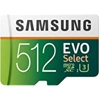 Samsung 512GB 100MB/s (U3) MicroSDXC Evo Select Memory Card with Adapter (MB-ME512GA/AM)