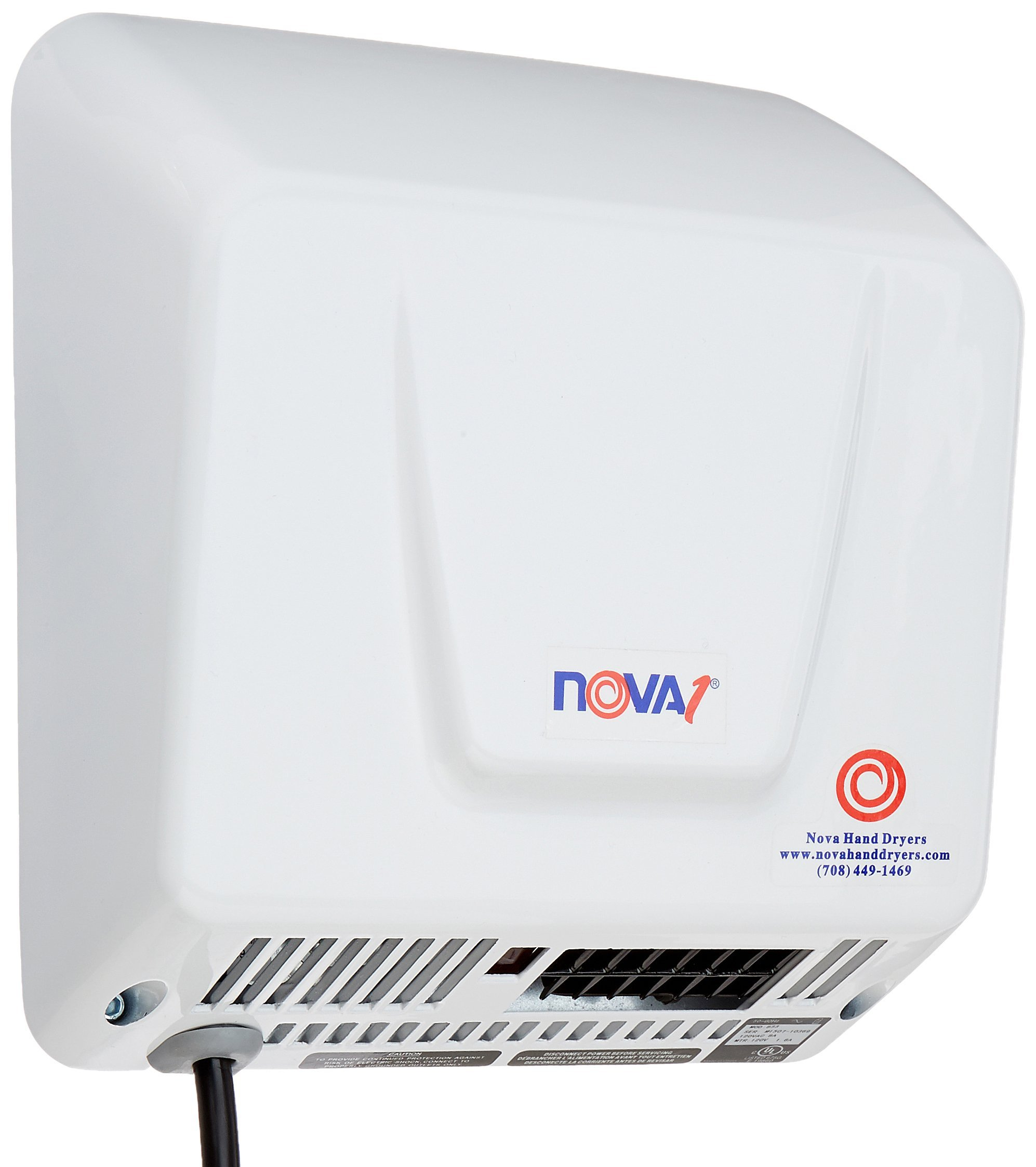 World Dryer 0833 NOVA-1 Plug-In Economical Surface Mounted Plug-In Quick Install Automatic Hand Dryer, Standard 110-120V Wall Outlet Aluminum Cover, White by Nova
