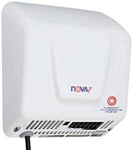 World Dryer 0833 NOVA-1 Plug-In Economical Surface Mounted Plug-In Quick Install Automatic Hand Dryer, Standard 110-120V Wall Outlet Aluminum Cover, White