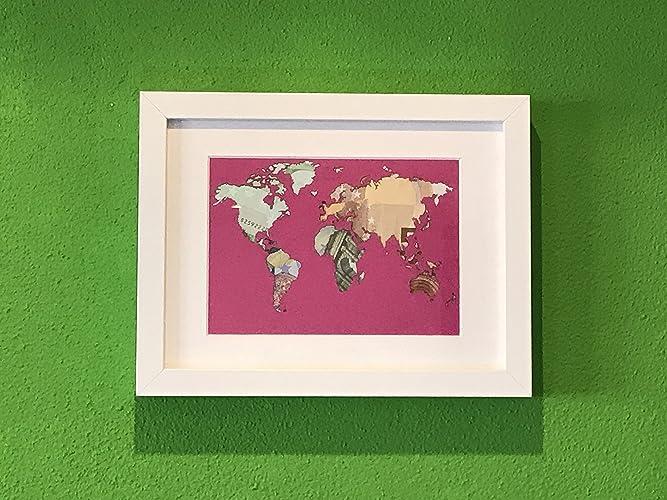 Geldgeschenk Weltkarte Im Bilderrahmen Hochzeits Geschenk