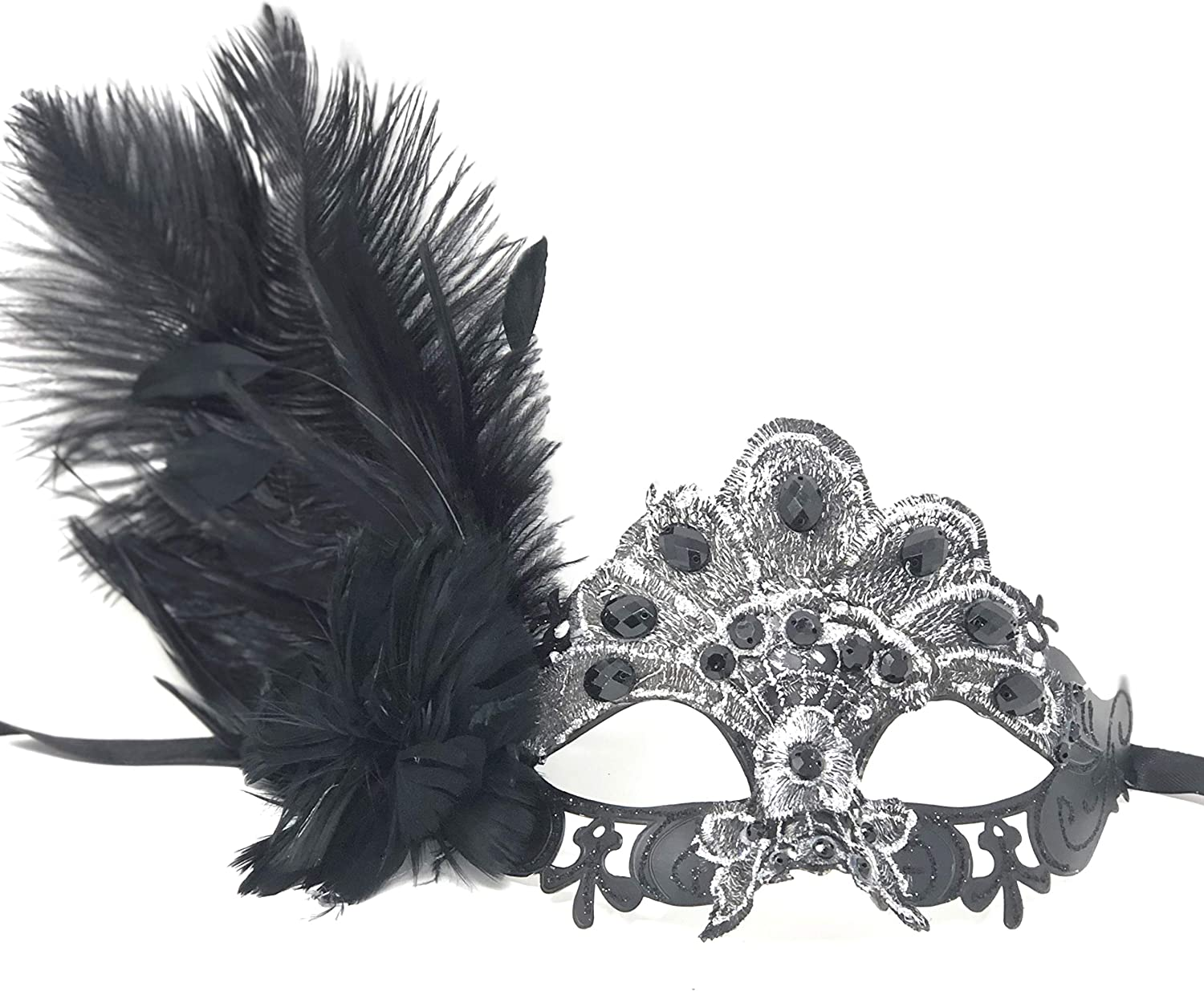 Costume Mask Feather Masquerade Mask Halloween Mardi Gras Cosplay Party Masque