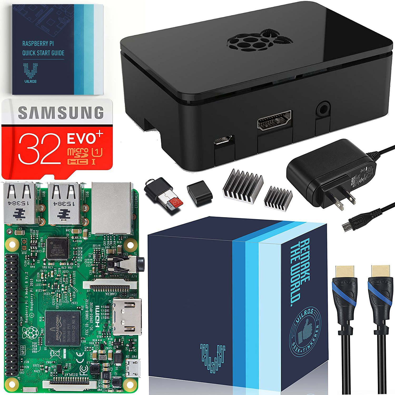 Raspberry Pi 3 Essentials Kit - On-board WiFi and Bluetooth Connectivity – 2.5A Power Supply - 32 GB Samsung Evo+ by Vilros