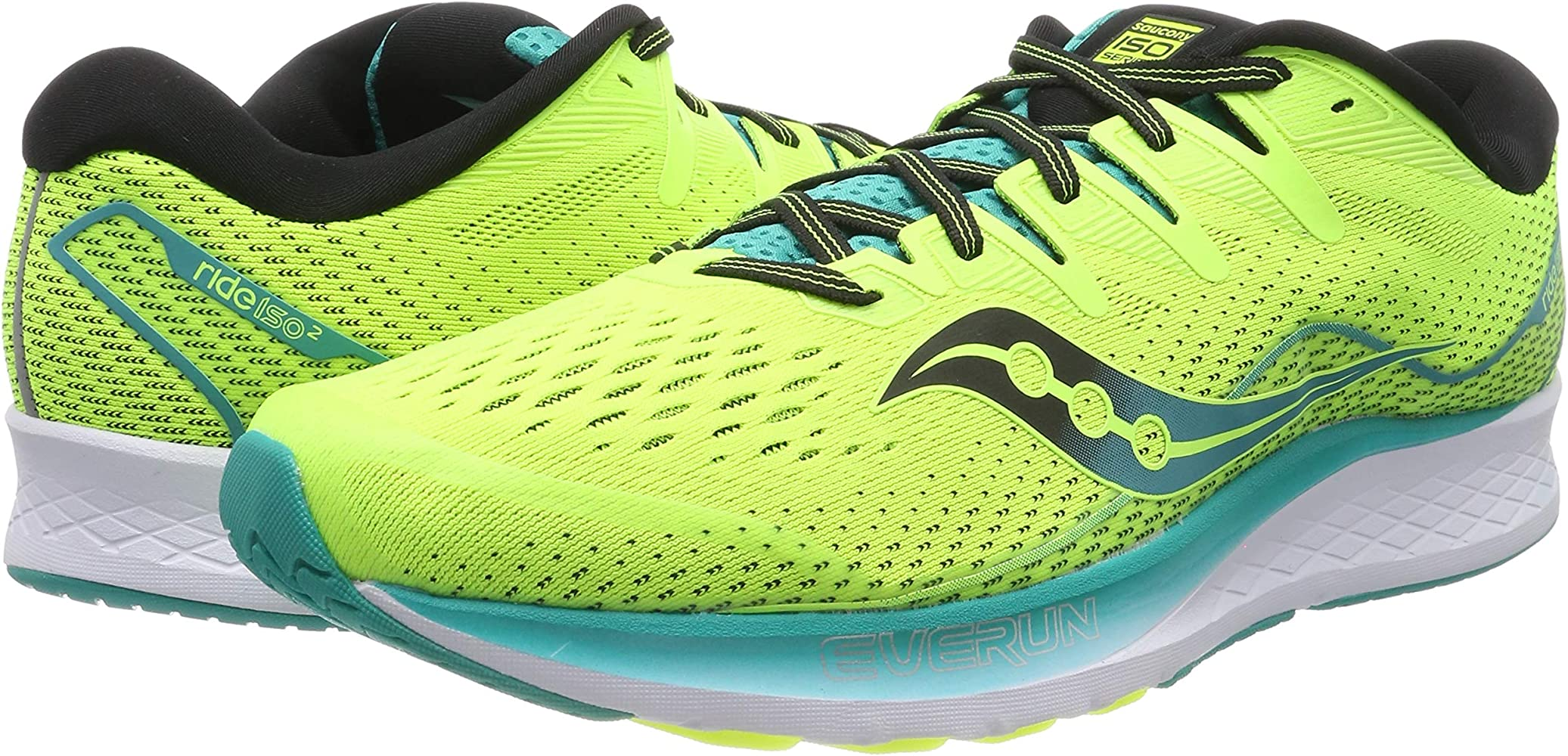 Saucony RIDE ISO 2, Zapatillas de Running por Hombre, Amarillo (Citron/Teal 36), 44 EU: Amazon.es: Zapatos y complementos