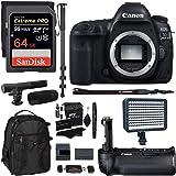 Canon EOS 5D Mark IV Full Frame Digital SLR Camera Body, Canon BG-E20 Grip, Sandisk Extreme 64GB U3 Card, Polaroid LED Video Light, Microphone, 72-inch Monopod, Ritz Gear Backpack & Accessory Bundle