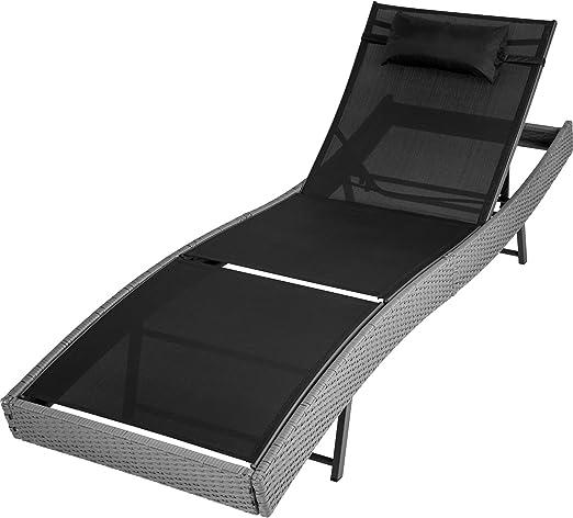 TecTake Tumbona chaise longue de poli ratán tumbona de jardín silla de terraza - disponible en diferentes colores - (Gris | no. 402055): Amazon.es: Jardín