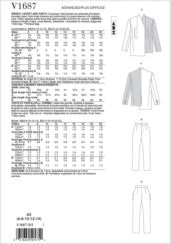 Vario Carta 6-8-10-12-14 Vogue V1687A5 V1687A5-Cartamodello per Giacche e Pantaloni da Donna Formato A5