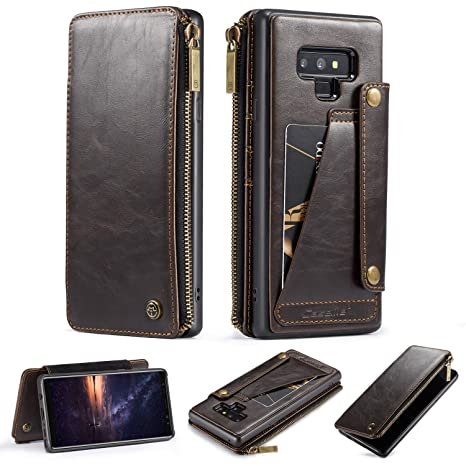 Galaxy Note 9 Wallet Case,Premium Flip Leather Creative Pocket [5 Card Slots][1 Zipper Wallet] Detachable Slim Cover United with Wallet Bag for ...