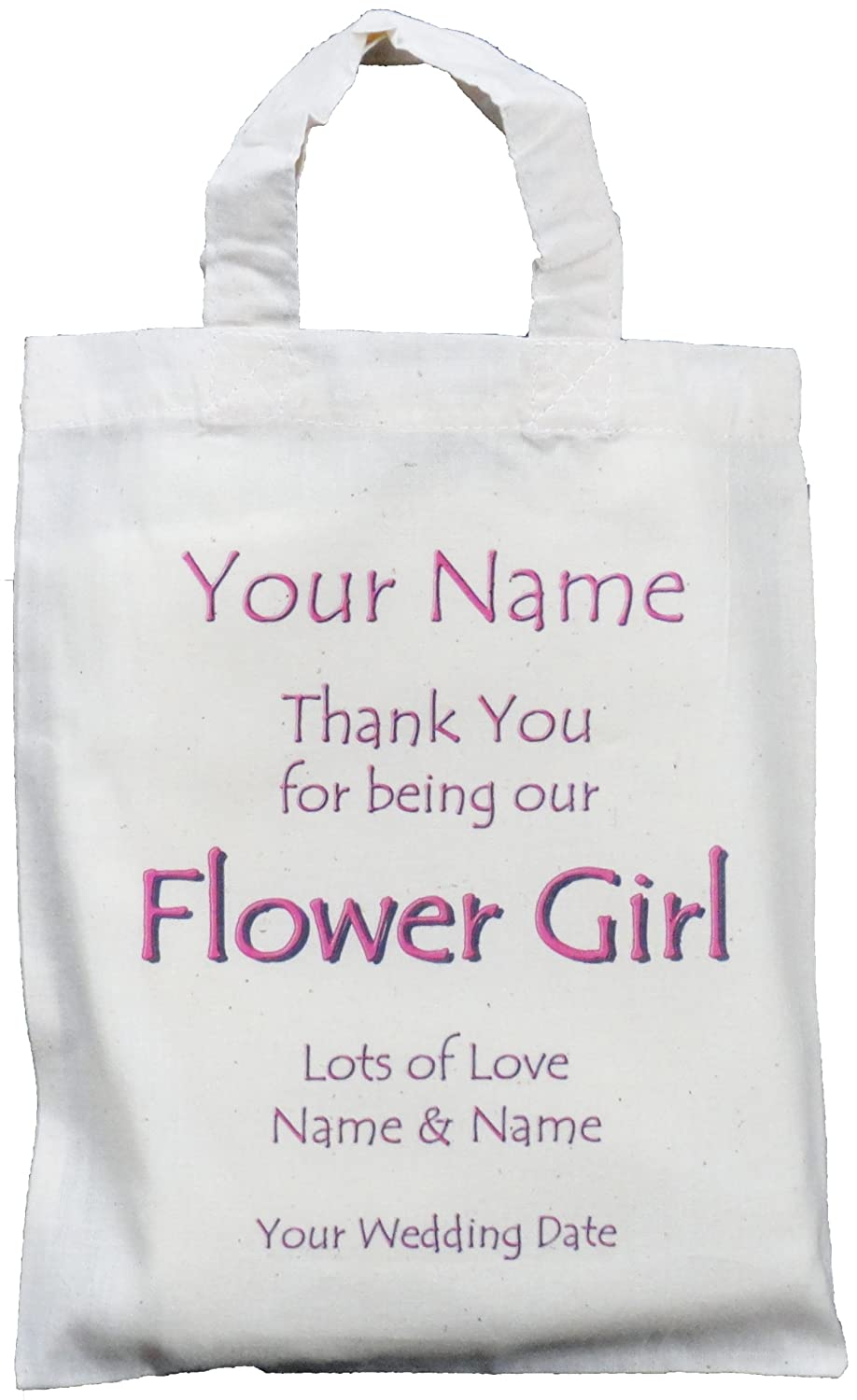 Personalised - FLOWER GIRL - Small Natural Cotton Wedding Favour ...