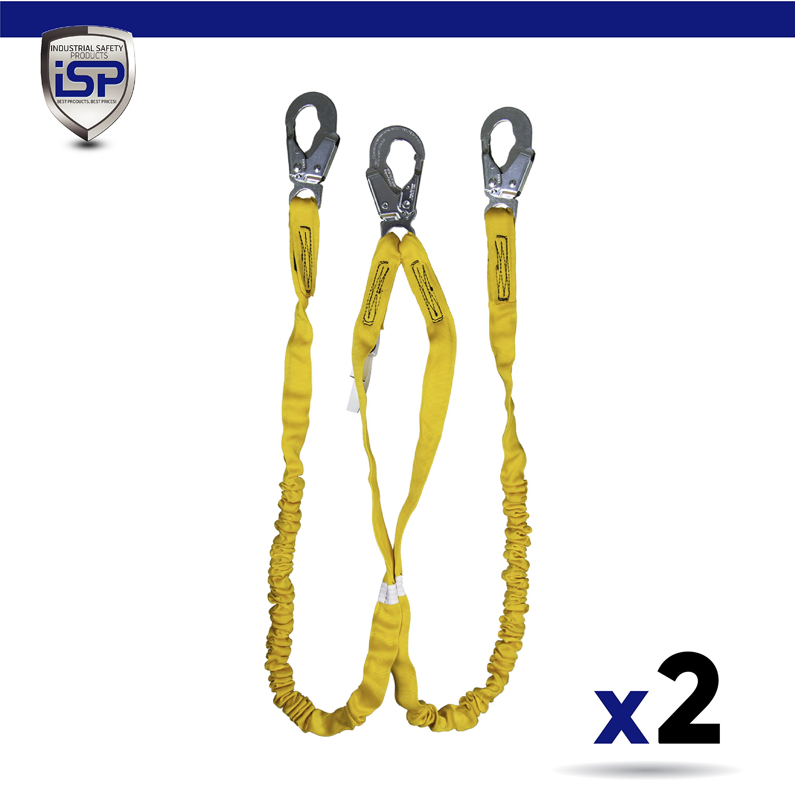Guardian 11202 Internal Shock 6' Lanyard Double Leg Steel Snap Hooks (2 Pack) by Guardian Fall Protection (Image #1)