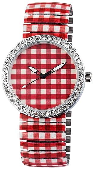 Reloj Mujer Rojo Blanco A Cuadros Brillantes Crystal analógico de Cuarzo Metal y alemán Cordón Números Arábigos Reloj de Pulsera: Amazon.es: Relojes