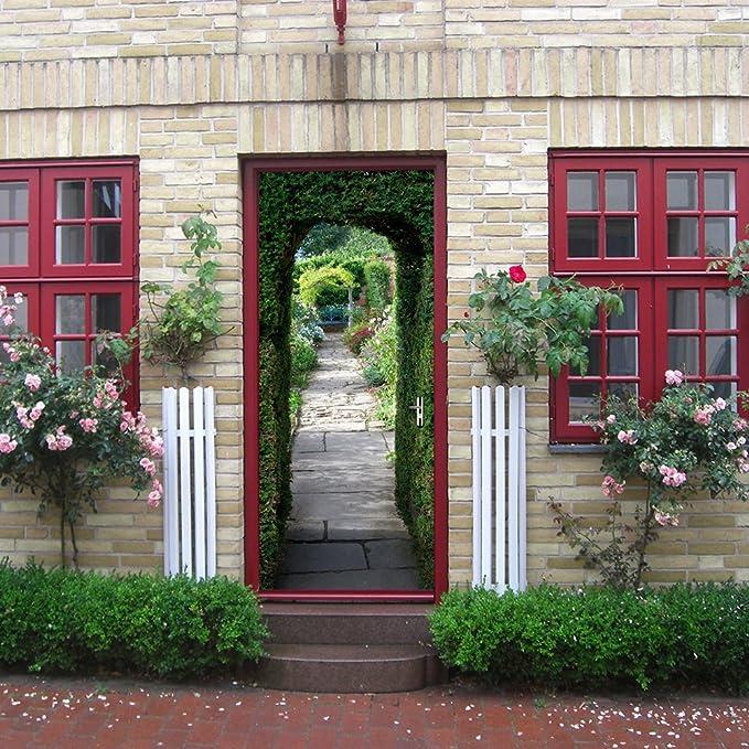 PVC Adhesivo Fotográfico Pegatina 77X200cm Vinilos Decorativos para Puerta Pared Cocina Sala de Baño (Puerta Verde)