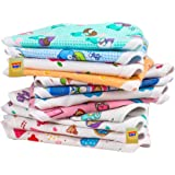 Fareto New Born Baby Double Layer 12 Cotton Nappies/Tying Langots/Cloths Nappies(Assorted)(Double Layer Cotton) (0-3 Months)