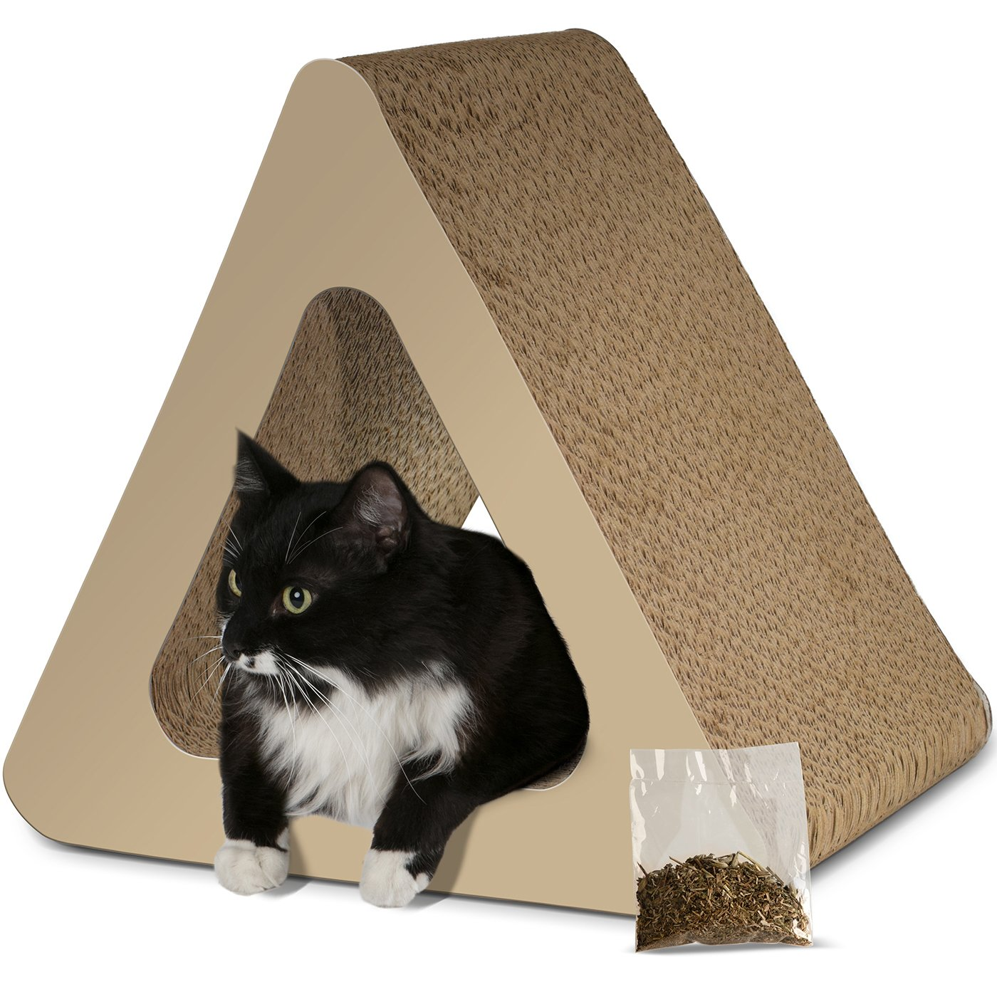 Paws & Pals 3-Sided Vertical Cat Scratcher Post - Different Cardboard Scratching Triangle Angles with Catnip - Beige by Paws & Pals