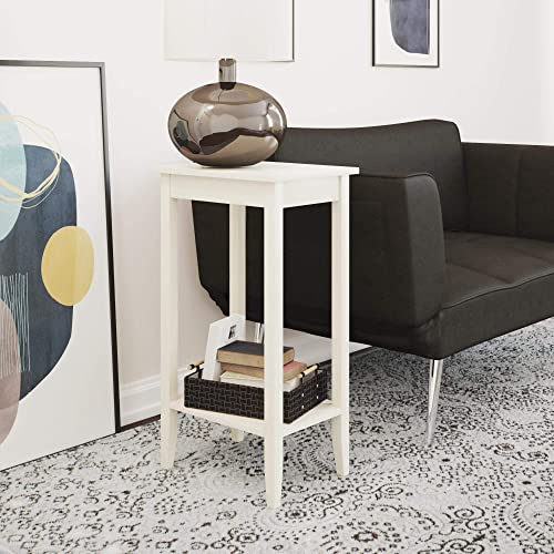 DHP Rosewood Tall End Table, Simple Design, Multi-purpose Small Space Table, White