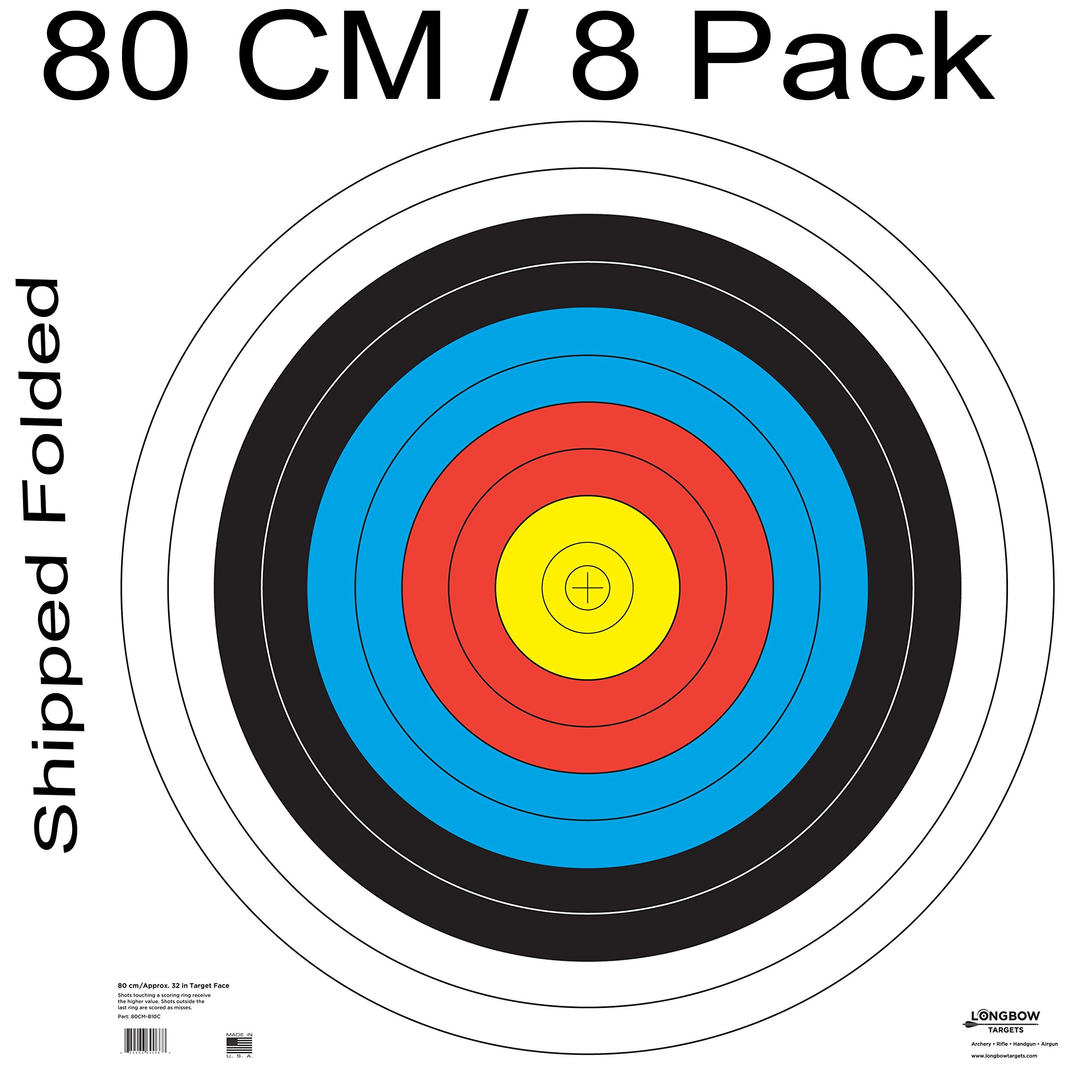 Archery 40cm & 80cm Targets by Longbow (8 Pack (80cm) Folded, 80cm Archery Paper) by Longbow Targets