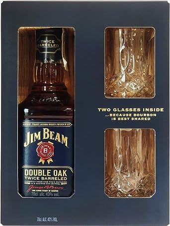 Jim Beam Doble Cask Whisky + Estuche 2 Vasos Digital - 700 ml: Amazon.es: Alimentación y bebidas