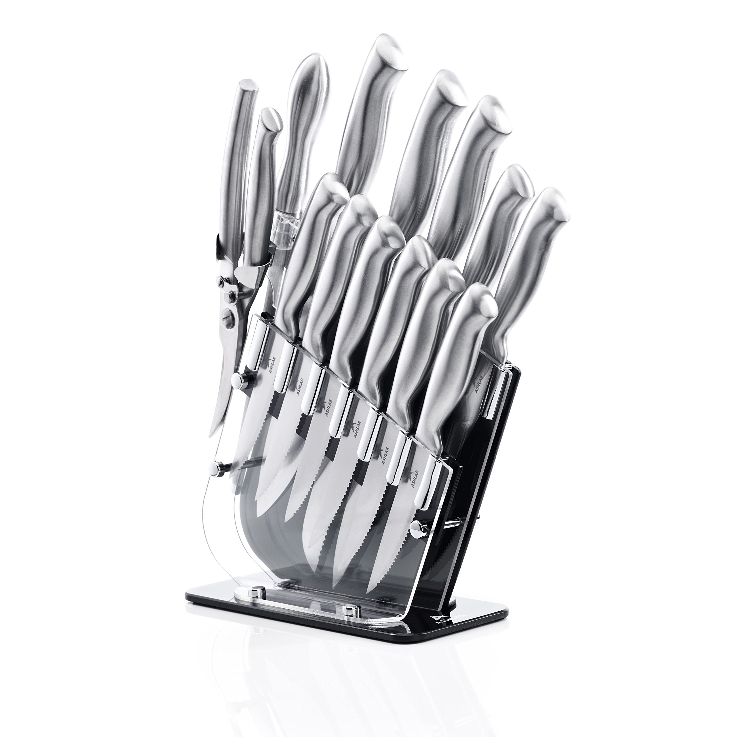 Ashlar Kitchen Knife Set Acrylic Block 14-Piece Stainless Steel - Includes Knife Sharpener & Kitchen Scissors