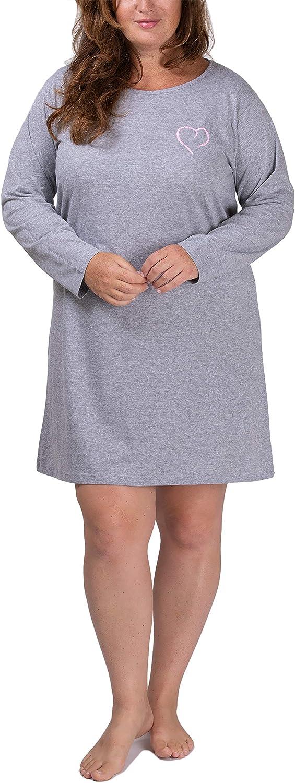 4XL Moonline Damen Nachthemd kurz Sleepshirt aus 100/% Baumwolle von Gr/ö/ße S