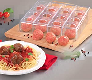 "Mind Reader MMM-CLR Magic Meatball Maker, Makes Perfect Same Size Round and Even Meat Balls, 9"" x 9"", Clear"