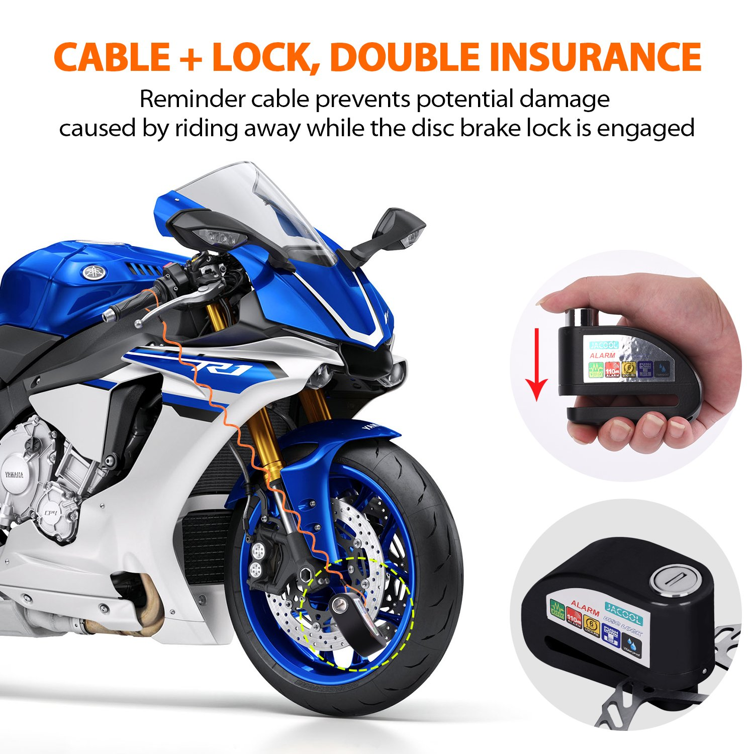 JACOOL Alarm Disc Lock Motorcycle Disc Brake Lock Anti-Theft Waterproof 110dB Alarm Sound and 6mm Pin with 4ft Reminder Cable for Motorcycles Bike Scooter Bonus Carry Pouch