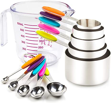 Measuring Cups and Magnetic Measuring Spoons Set Stainless Steel 16 Piece Set