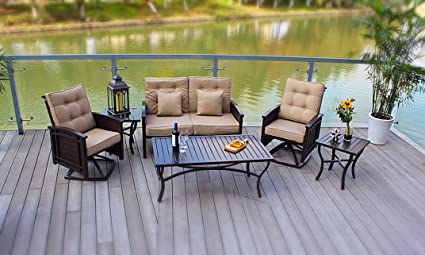 5pc Aluminum And Wicker Rocking Deep Seating Conversation Patio Set   Bronze