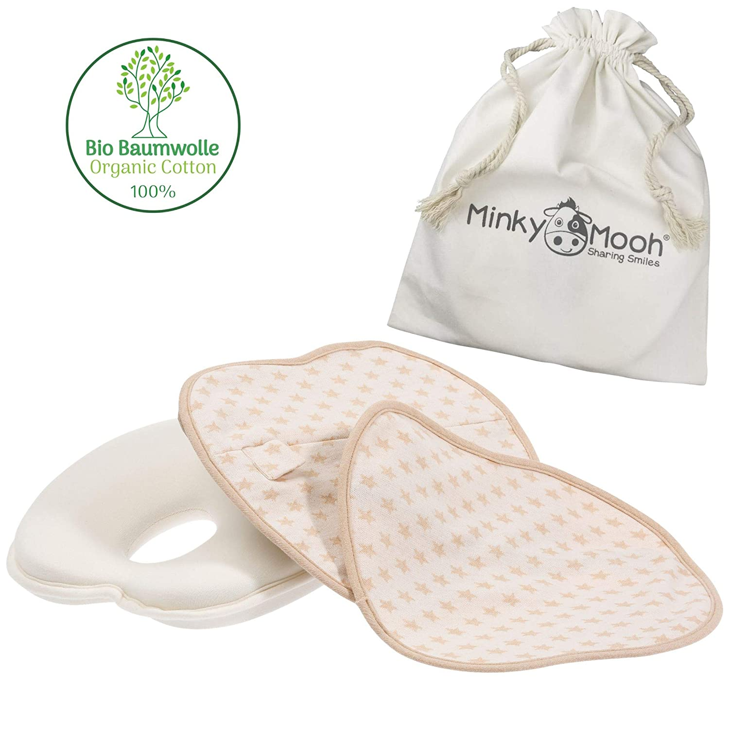 Minky Mooh Flat Head Baby Pillow Set - 2 Organic Cotton Cases   Natural Baby Head Shaping Pillow for Newborns & Infants. Prevent Newborn Baby Flathead Syndrome