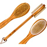 Bath Blossom Bamboo Dry Body Brush Extra Long Handle Exfoliating Bath Scrubber - Effective Back Brush Exfoliation and Massage - Used Wet or Dry For Men and Women