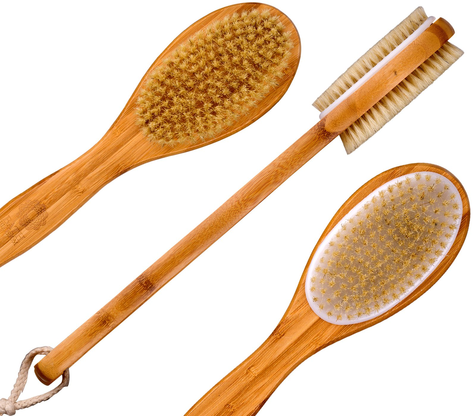 Bath Blossom Bamboo Bath Body Brush Extra Long Handle Exfoliating Back Scrubber - Effective Back Brush Exfoliation and Skin Cellulite Brushes - Used for Wet or Dry Brushing For Men and Women