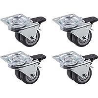 Metafranc Dubbele wielen Ø 50 mm 4 stuks - 60 x 60 mm Plaat TPR wielen kogellagers - 70 kg draagkracht Ideaal voor zware…