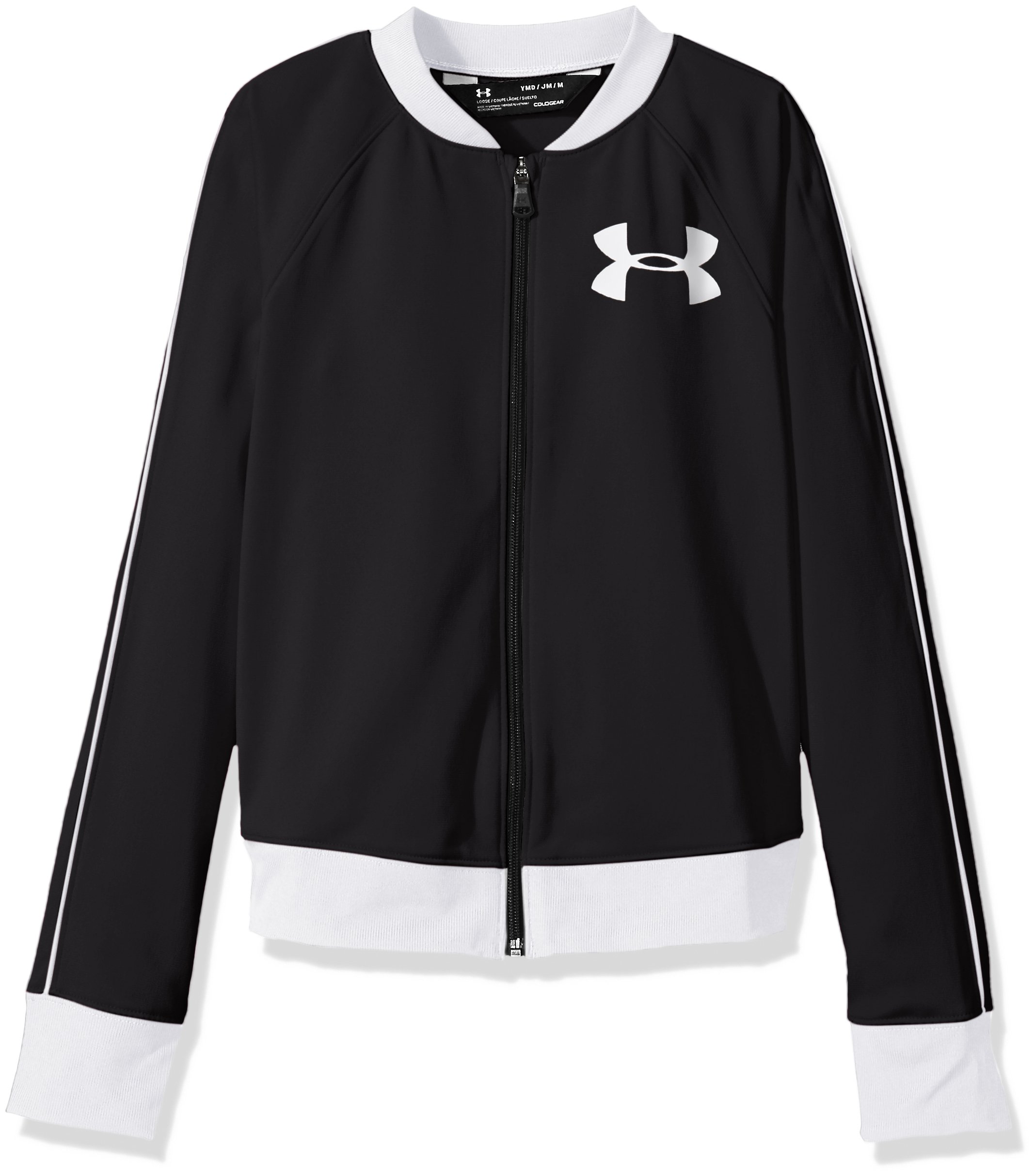 Under Armour Girls' Track Jacket,Black (001)/White, Youth Medium by Under Armour